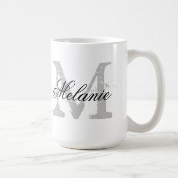 Custom oversized typography monogram coffee mug