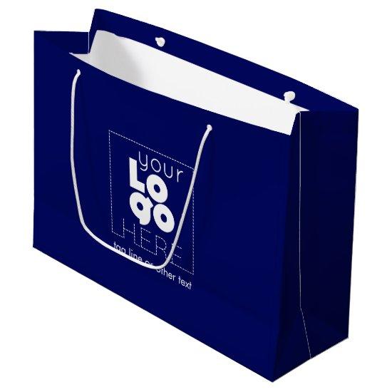 Custom Paper Company Logo on Navy Blue Shopping Large Gift Bag