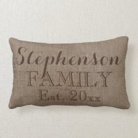 Custom Personalized Family Name Burlap Rustic Pillow | Zazzle
