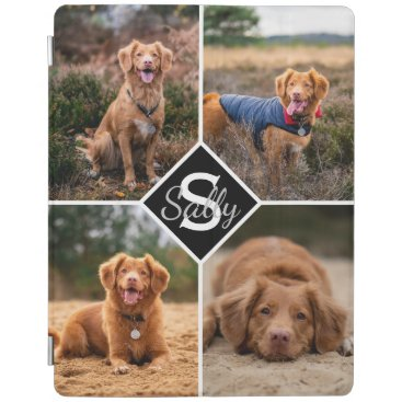 Custom Photo Collage Pet Dog Cat Monogram Photo iPad Smart Cover