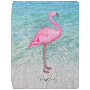 Custom Pink Flamingo Tropical Sandy Beach Modern iPad Smart Cover