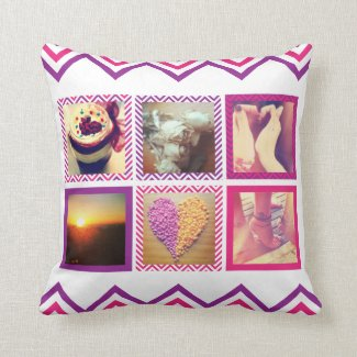 Custom Pink Purple Chevron Instagram Pillows