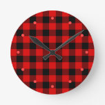 Custom Red Black Buffalo Check Plaid Pattern Round Clock