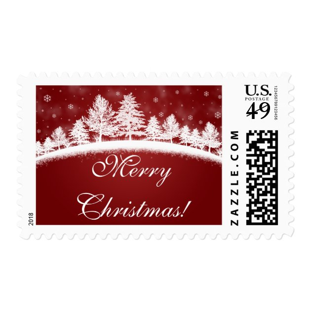 Custom Red Christmas Postage Stamps Zazzle