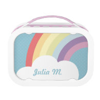 Custom Text on Rainbow (& Cloud!) Blue Lunch Boxes