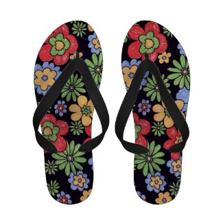 Custom Vivid Colorful Flowers to Personalize Flip Flops