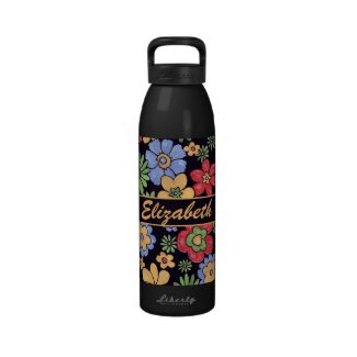 Custom Vivid Colorful Flowers to Personalize Drinking Bottles