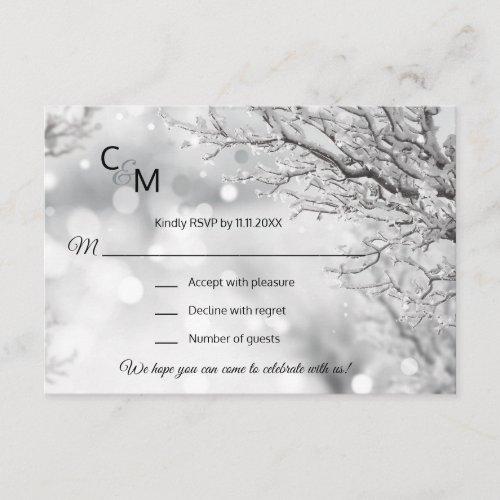 Custom Winter Wonderland Snow Scene RSVP Wedding