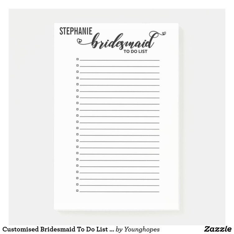 Wedding To Do List: Free Bridesmaid To Do List Notepad Instant Download