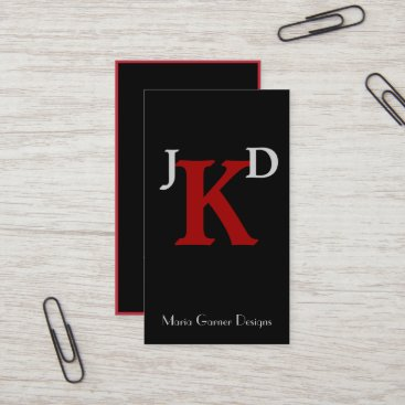 Customizable Black and Red Monogram Business Cards