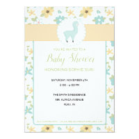 Customizable Blue Little Llama Baby Shower Invite