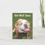 Cute Bulldog Get Well Soon Card