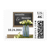 Customizable Chalkboard With Flowers in Mason Jar Postage Stamps