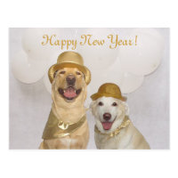 Customizable Dog/Lab Happy New Year Postcard