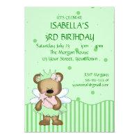 Customizable Teddy Bear Green Fairy Princess Card