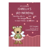 Customizable Teddy Bear Pink Fairy Princess Card