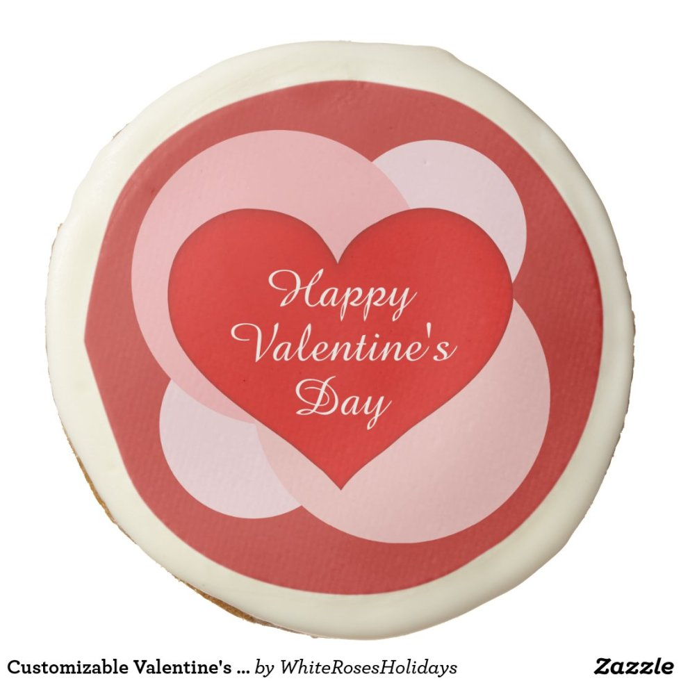 Customizable Valentine's Day Red Heart Sugar Cookie