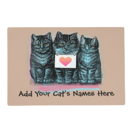 Customize Cute Vintage Cat Food Mat with Name Laminated Place Mat