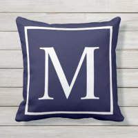 Customize monogram text on navy blue outdoor pillow ...