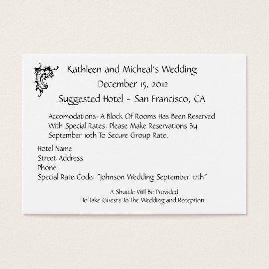 Customize Wedding Hotel Acmodation Insert Card