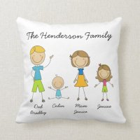 Customized Family Stick Figure Pillow | Zazzle