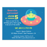 Cute Alien Outer Space Birthday Party Card