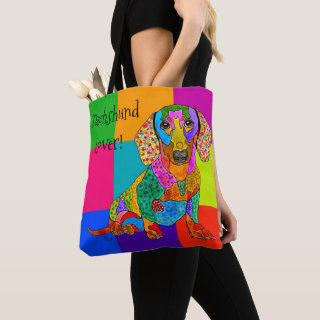 Cute and Colorful Dachshund Tote Bag