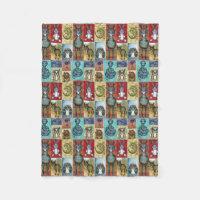 Cute Animal Collage Folk Art Design Fleece Blanket