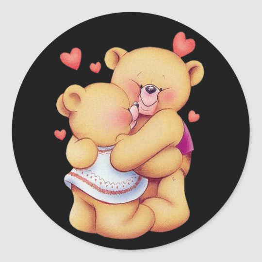 Cute Animated Valentines Day Hugging Teddy Bears Classic