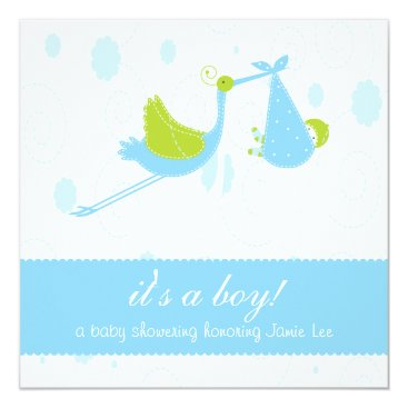 "Cute Baby Blue ""it's a boy"" Baby Shower Invitation"
