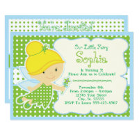 Cute, Baby Fairy Birthday Party Invitations