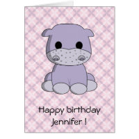 Cute baby hippo cartoon kids birthday card