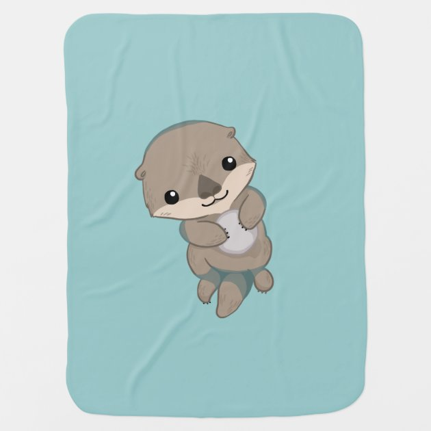 Cute Baby Otter Pup Receiving Blanket Zazzle Com