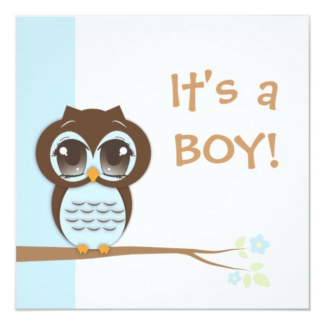 Cute Baby Owl It S A Boy Shower