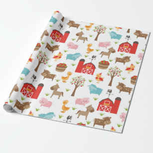 farm animals wrapping paper