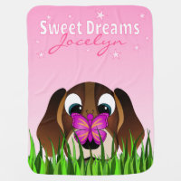 Cute Beagle Puppy Dog and Butterfly Cartoon Pink Stroller Blanket