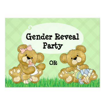 Cute Bear Gender Reveal Party Invitation