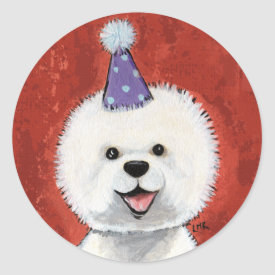 Cute Bichon Frise Party Dog Stickers