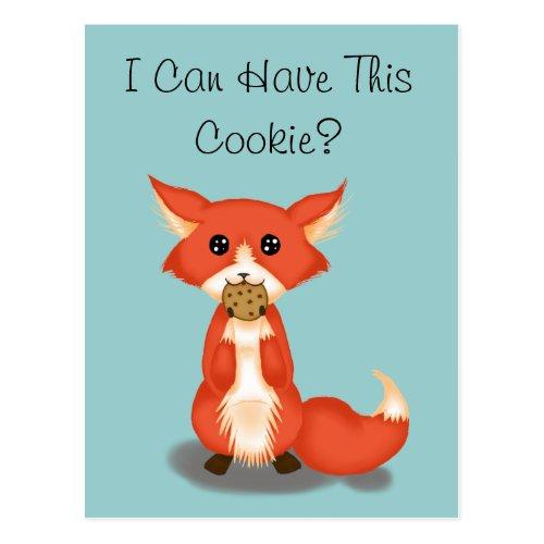 Cute Big Eyed Fox Eating A Cookie Postcard