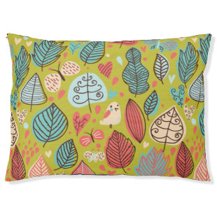 Cute Bird/Leaf Pattern Large Dog Bed