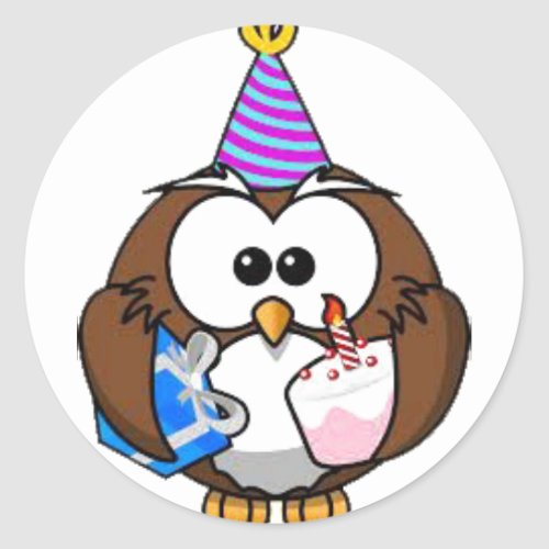 Cute Birthday Owl Birthday Stickers