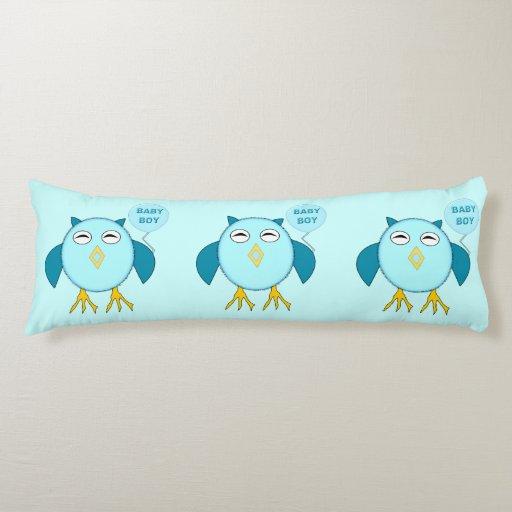 Cute Blue Baby Boy Owl Body Pillow
