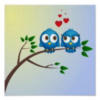 Cute blue birds in love cartoon poster