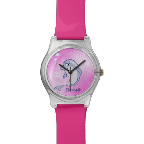 Cute Blue Dolphin To Personalize Wristwatch