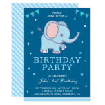 Cute Blue Elephant Boys Birthday Party Invitation