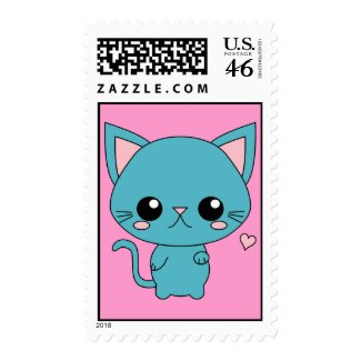 Cute Blue Kawaii Cat stamp