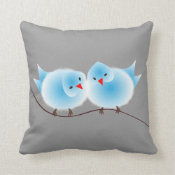 Cute Blue Love Birds On Branch Throw Pillows