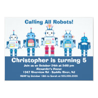 Cute Blue Robot Birthday Party Invitation