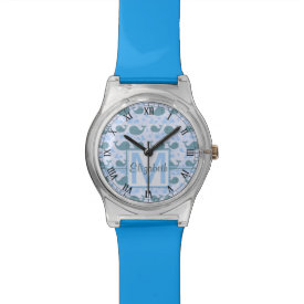 Cute Blue Whales Monogram Pattern v2 Watches