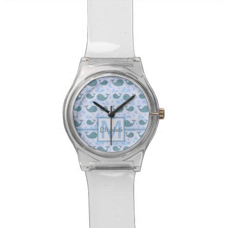 Cute Blue Whales Monogram Pattern Watch